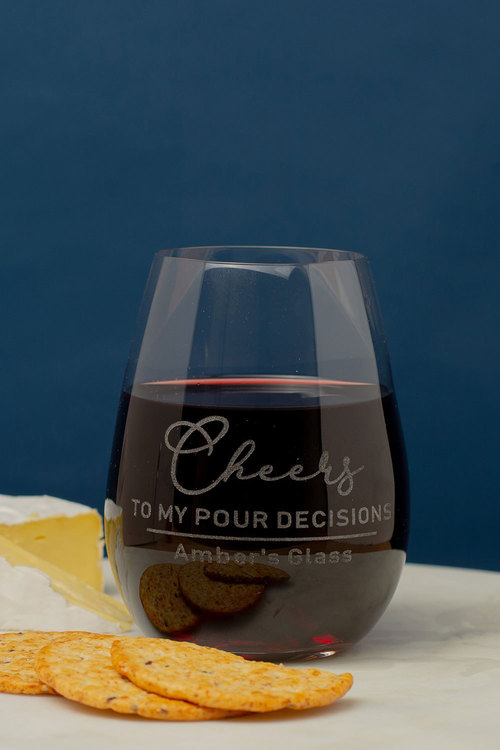 Personalised Cheers to my Pour Decisions Stemless Wine Glass