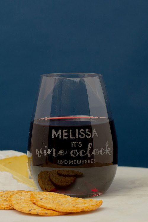 Personalised Its Wine O'clock Somewhere Stemless Wine Glass