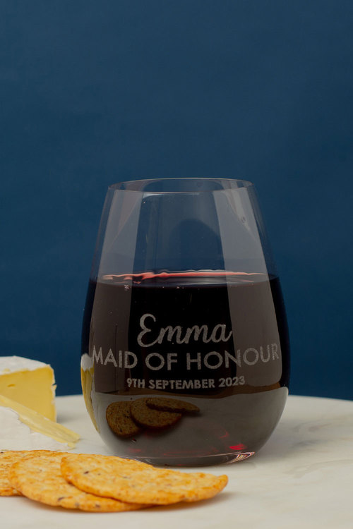 Personalised Wedding Party Bridesmaid Stemless Wine Glass