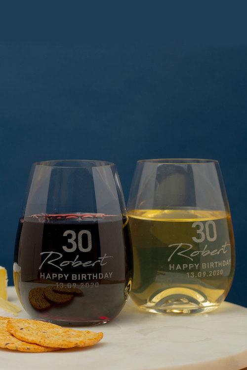 Personalised #Happy Birthday Stemless Wine Glass Set of 4