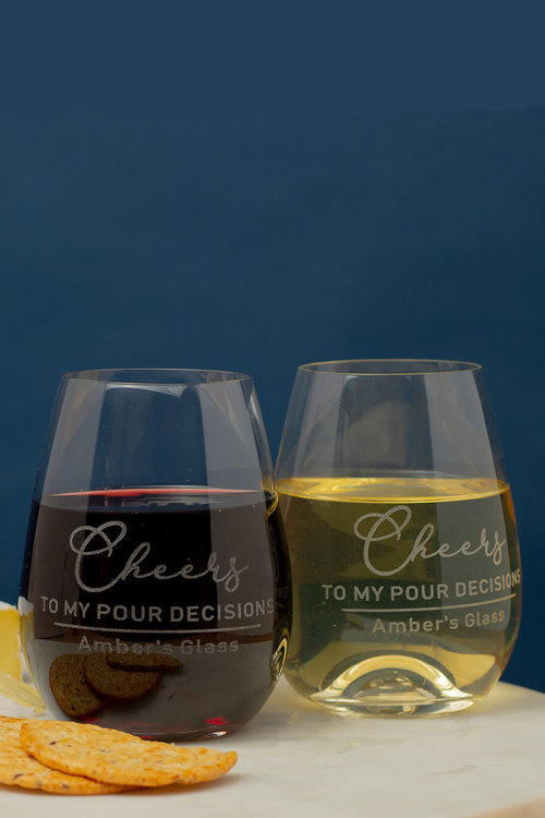 Personalised Cheers to my Pour Decisions Stemless Wine Glass Set