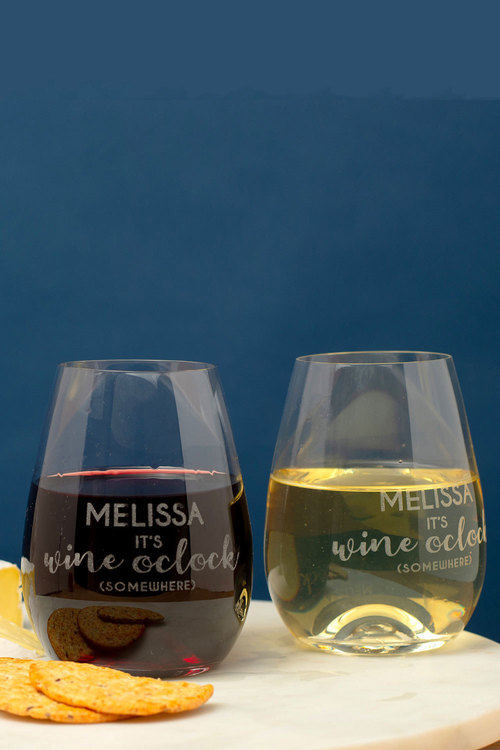 Personalised Its Wine O'clock Somewhere Stemless Wine Glass Set