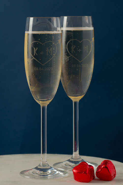 Personalised Love Heart Initial and Date Champagne Glass