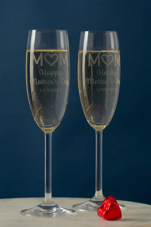 Personalised Happy Mothers Day Champagne Glass