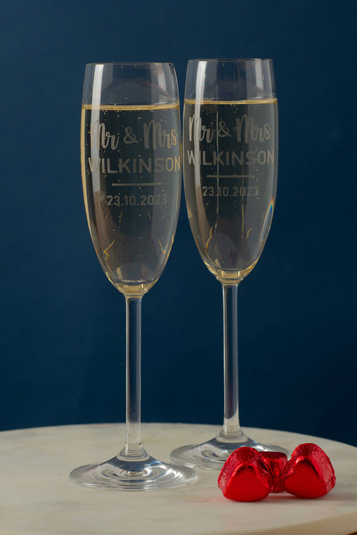 Personalised Mr & Mrs Champagne Glass