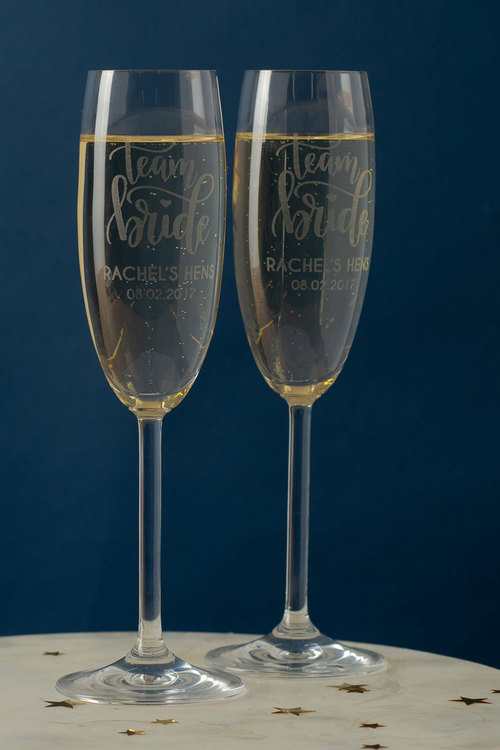 Personalised Team Bride Champagne Glass