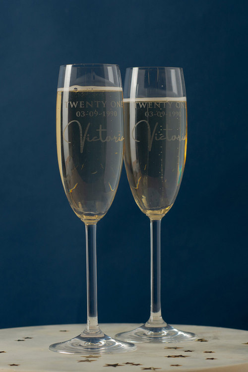 Personalised Birthday Date and Name Champagne Glass Set of 6
