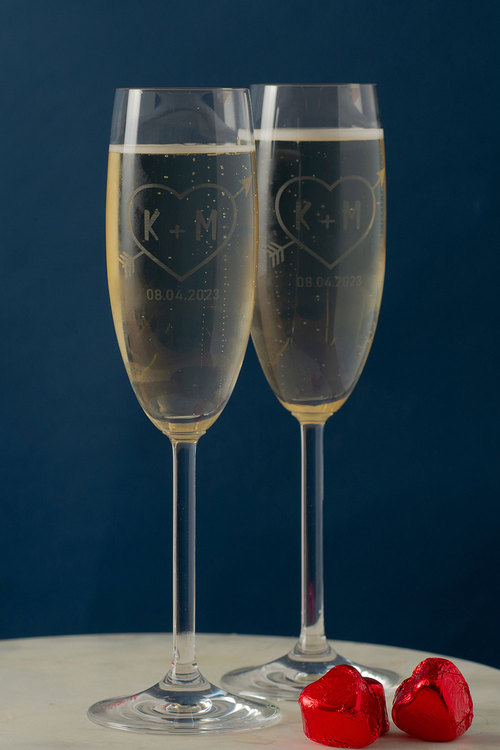 Personalised Love Heart Initial and Date Champagne Glass Set of