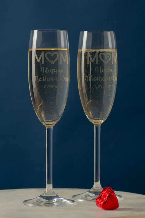 Personalised Happy Mothers Day Champagne Glass Set of 6