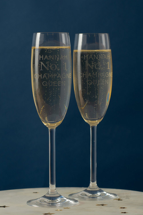 Personalised No 1 Champagne Queen Champagne Glass Set of 6