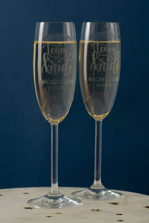 Personalised Team Bride Champagne Glass Set of 6