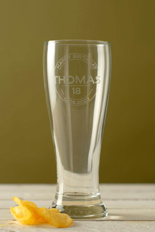 Personalised Happy Birthday Beer Glass
