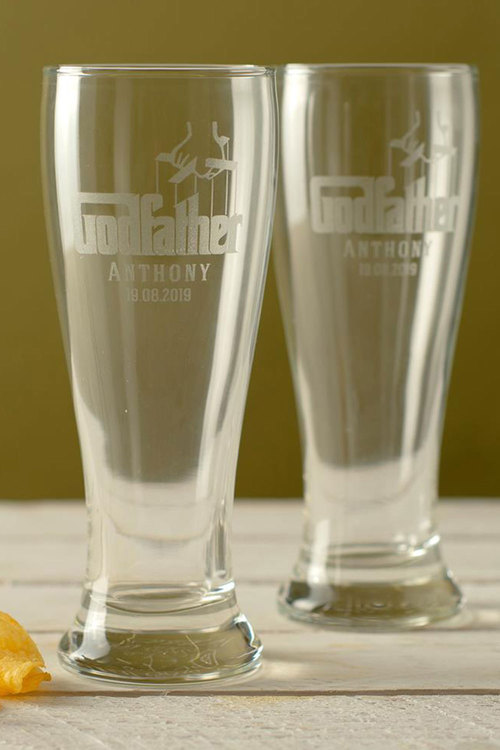 Personalised Godfather Beer Glass Set of 4