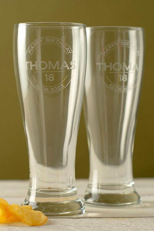 Personalised Happy Birthday Beer Glass Set of 4