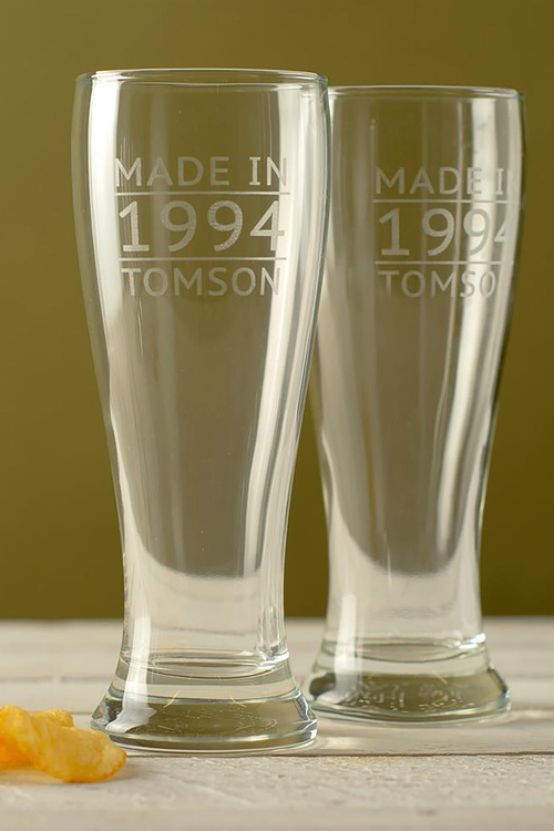 Personalised Made in Date and Name Beer Glass Set of 4