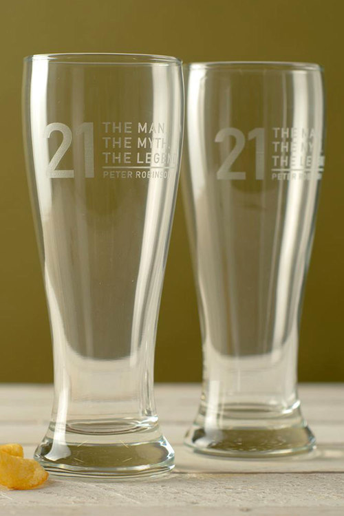 Personalised The Man, The Myth,  The Legend Beer Glass Set of 4
