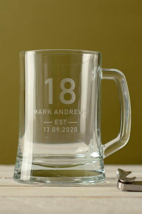 Personalised Birthday Est Beer Mug