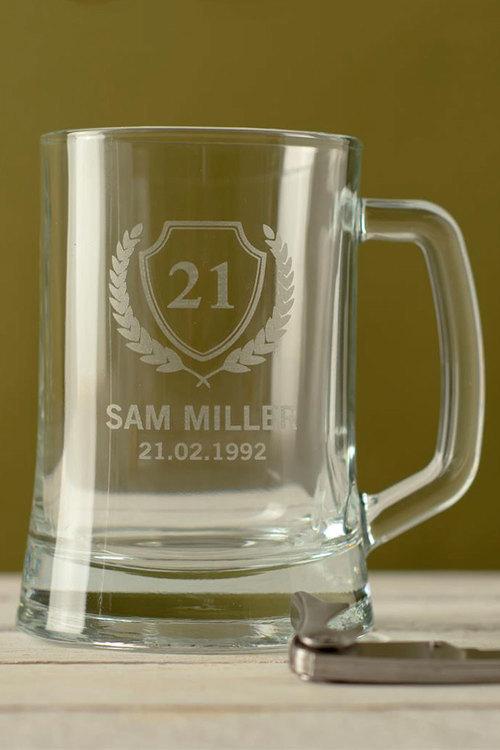Personalised Birthday Shield Beer Mug