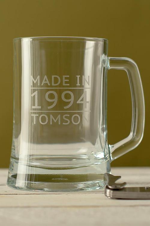 Personalised Made In Date and Name Beer Mug
