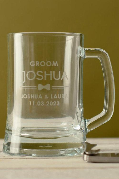 Personalised Wedding Party Bow Tie Beer Mug