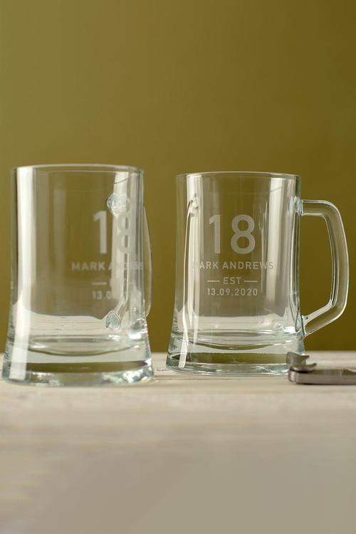 Personalised Birthday Est Beer Mug Set of 2