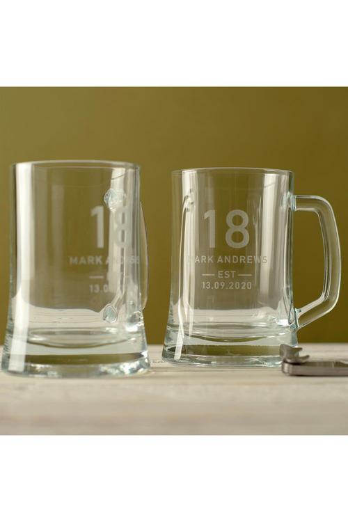 Personalised Birthday Shield Beer Mug Set of 2