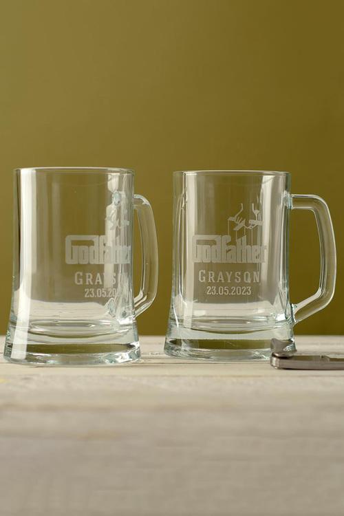 Personalised Godfather Beer Mug Set of 2