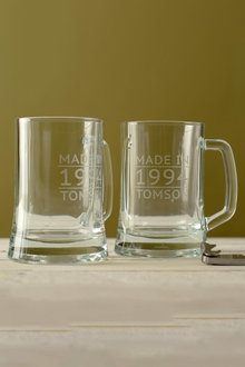 Personalised Made In Date and Name Beer Mug Set of 2 - 291990