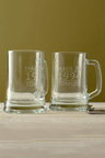 Personalised Made In Date and Name Beer Mug Set of 2