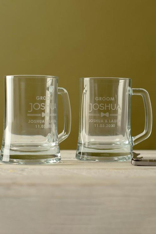 Personalised Wedding Party Bow Tie Beer Mug Set of 2