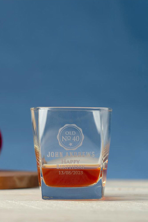 Personalised Birthday Square Scotch Glass