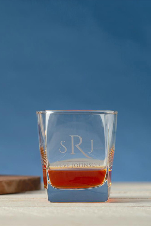 Personalised Initial and Name Square Scotch Glass