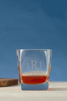 Personalised Initial and Name Square Scotch Glass - 291995