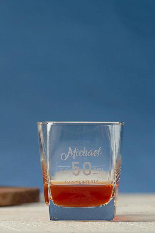 Personalised Birthday Est Square Scotch Glass