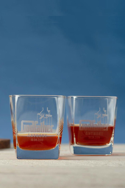 Personalised Godfather Square Scotch Glass Set of 4