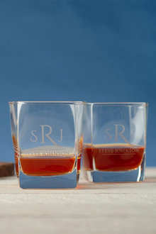 Personalised Initial and Name Square Scotch Glass Set of 4 - 292000