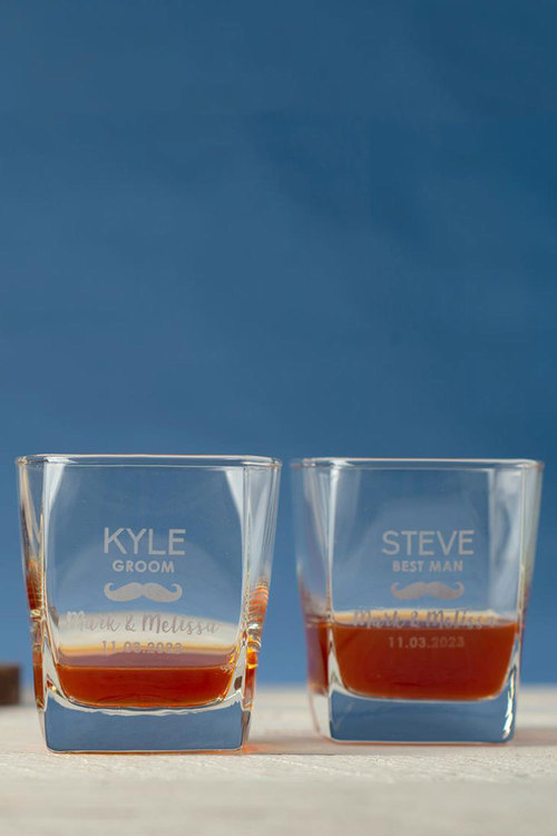 Personalised Moustache Wedding Party Square Scotch Glass set of