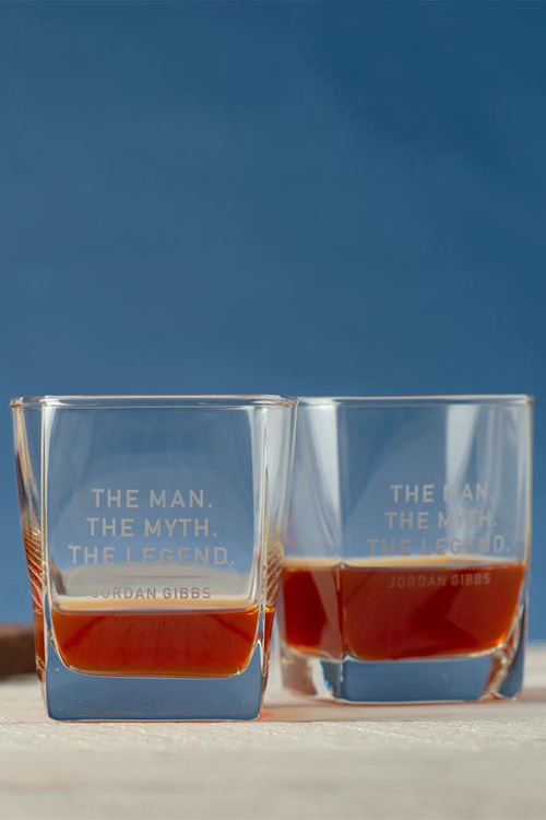 Personalised The Man, The Myth, The Legend Square Scotch Glass