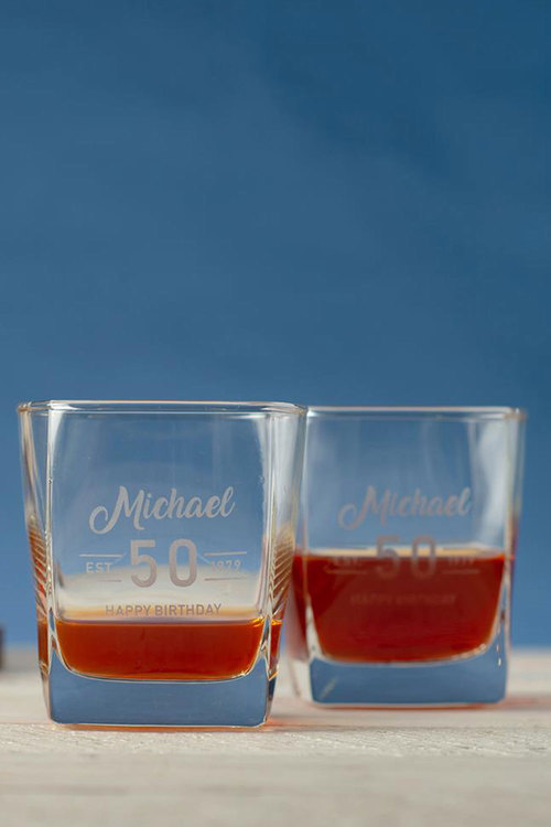 Personalised Birthday Est Square Scotch Glass Set of 4