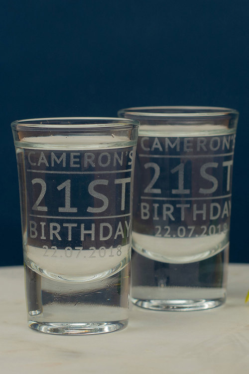 Personalised Birthday Name and Age Shot Glass Set of 6