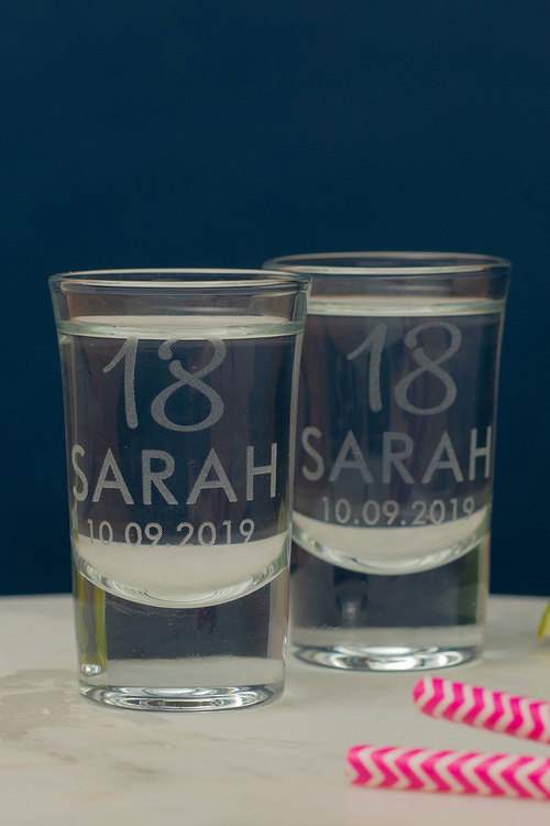 Personalised Birthday Age and Name Shot Glass Set of 6