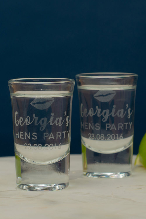 Personalised Hens Party Shot Glass Set of 6