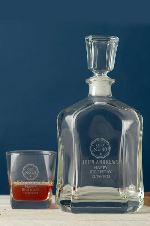 Personalised Birthday oyal Decanter & 2 Square Scotch Glasses