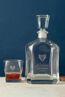 Personalised Bow Tie & Lapel Royal Decanter & 2 Square Scotch - 292011