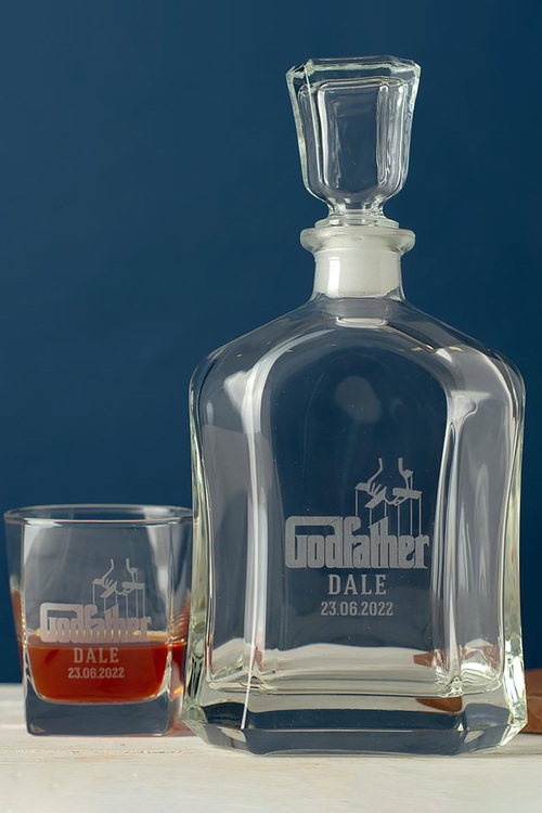 Personalised Godfather Royal Decanter & 2 Square Scotch Glasses
