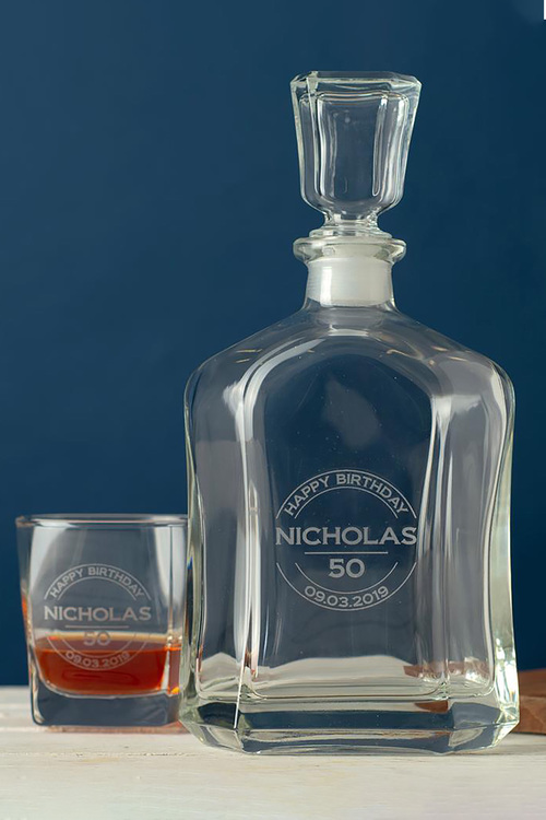 Personalised Happy Birthday Royal Decanter & 2 Square Scotch