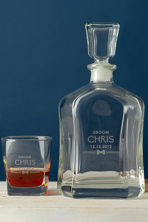 Personalised Royal Decanter and 2 Square Scotch Glasses -