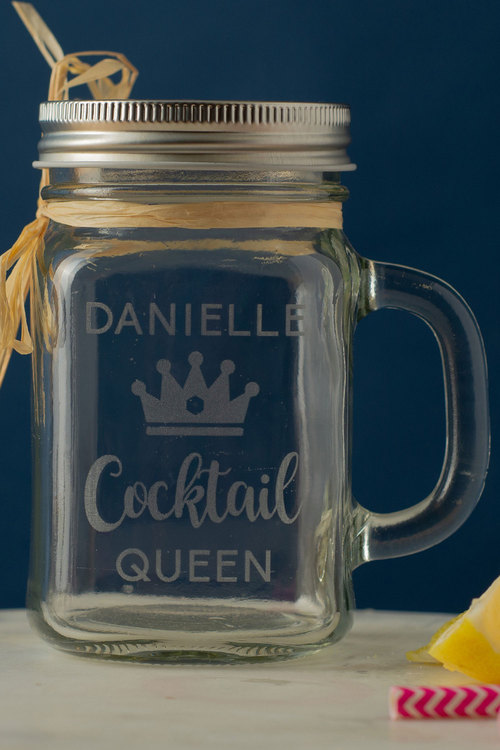 Personalised Cocktail Queen Glass Mason Jar