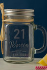 Personalised Birthday Est Glass Mason Jar