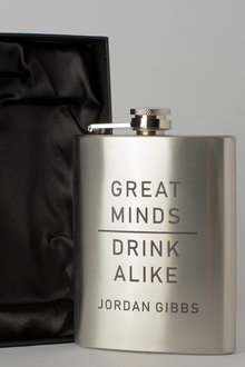 Personalised Great Minds Silver Gift Boxed Hip Flask - 292020
